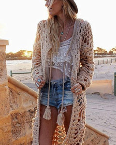 Pure Color Hollowed Out Loose Cardigan Sweater