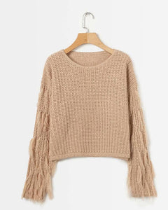 Autumn/Winter Pure Color Round Collar Long Sleeved Tassel Sweaters