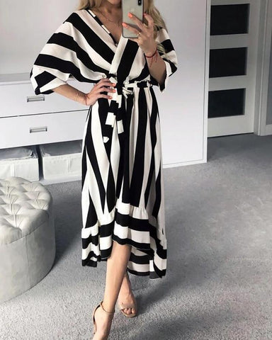 Casual Dyed Five-Point Sleeve V-Neck Irregular Maxi Dresses