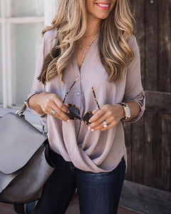 Casual V-Neck Long Sleeve Solid Color T-Shirts