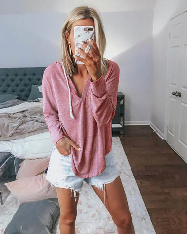 Casual V-Neck Hooded Long-Sleeved Solid Color T-Shirt