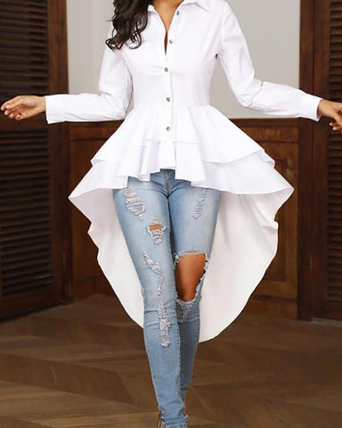 Casual Folded Collar Long Sleeved Solid Color Shirt