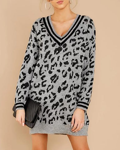 Casual V Neck Long Sleeve Leopard Print Sweater