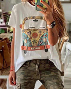 Fashion Round Neck Short Sleeve Print T-Shirts
