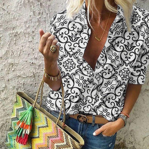 Casual V Neck Half Sleeve Printed Blouse
