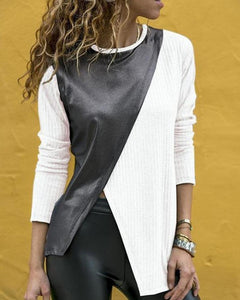 Fashion Casual Color Block Long Sleeves Patchwork  Knit T-Shirt