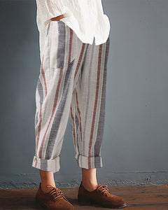 Casual Striped Printed Colour High Waist Pants