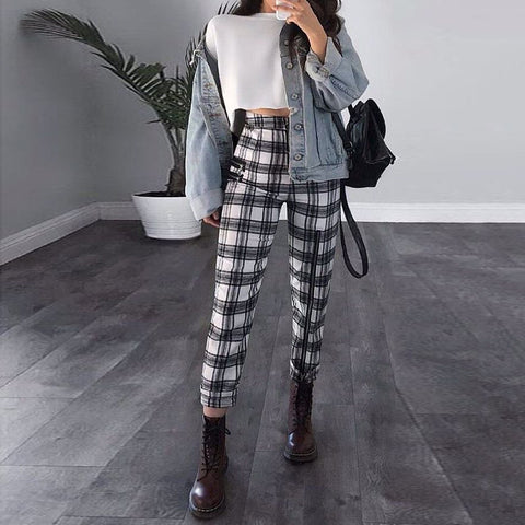 Fashion Personality Plaid Slim Leg Pant RS006