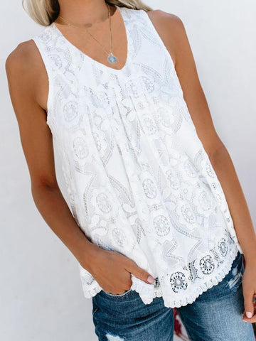 V-Neck Stitching Solid Color Lace Vest