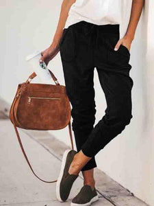 Drawstring Patch Pocket Plain Pants