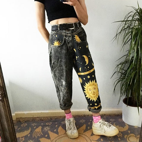 Women's casual moon stars sun print pants RS001