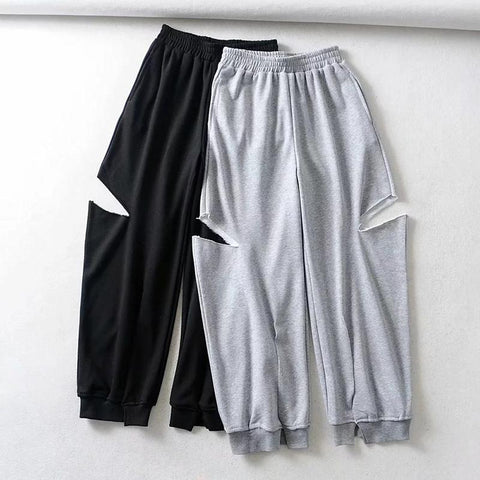 Women's fashion hole split casual pants