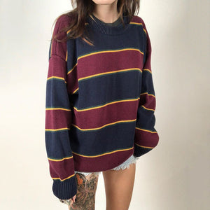 Casual round neck color matching loose knit sweater DWQ06