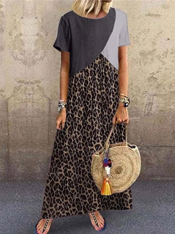 Casual Animal Printed Patchwork Dress