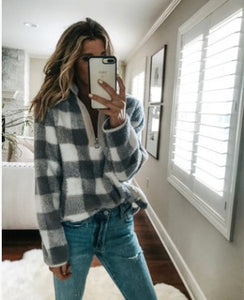 Fashion Plaid Long Sleeve Turtleneck Zip Sweatshirt