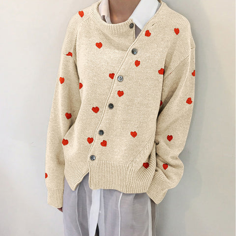 Autumn And Winter Diagonal Buckle Heart Cardigan Jacket Sweater