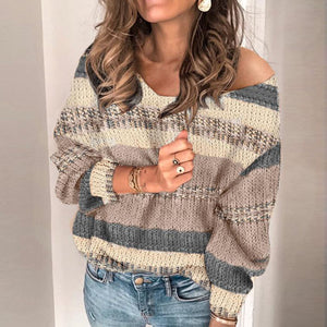 Women's Fashion Contrast Color Long Sleeve Sweater BJ31