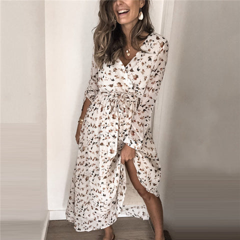Fashion Floral Printed Long Sleeve Dress BJ31