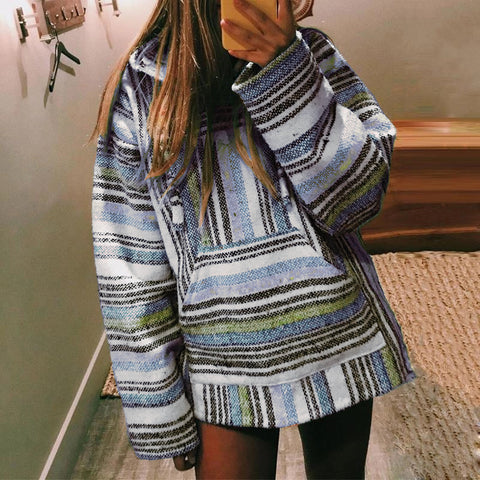 Casual color striped large pocket loose sweatershirt DWQ25