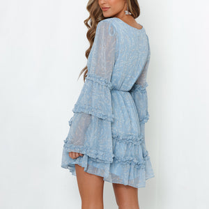 V-Neck Button-Up Stitching   Wooden Ear Long-Sleeved Mini Dress