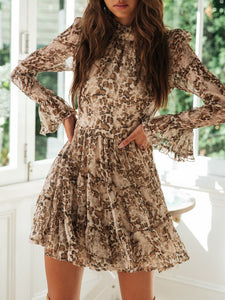 Printed Stitching Wooden Ear   Mini Dress