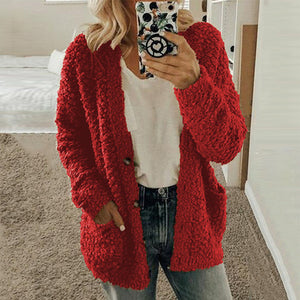 Fashion Casual Solid Color Sweater Overcoat