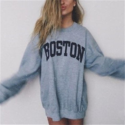 Casual Round Neck Letter Print Pullover Sweater