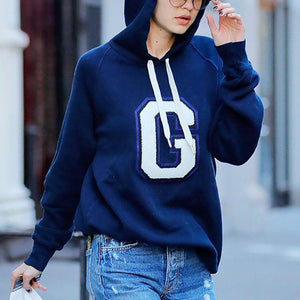 Casual Letter Patch Long Sleeve Hooded Sweatershirt