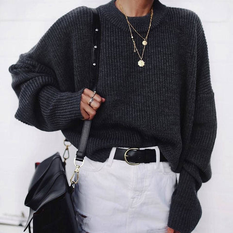 Casual Black Long Batwing Sleeves Round Neck Sweater DWQ21