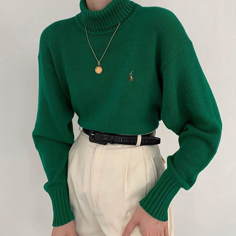 Casual green high collar loose sweater DWQ08