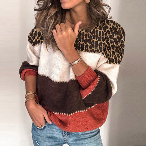 Women's fashion contrast color leopard long-sleeved sweater BJ31