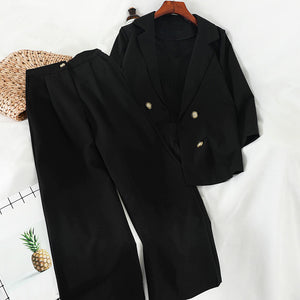 Casual short vest straight long pants blazer three-piece suit