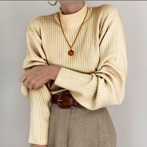 Fashion high collar pure color pit sweater DWQ08