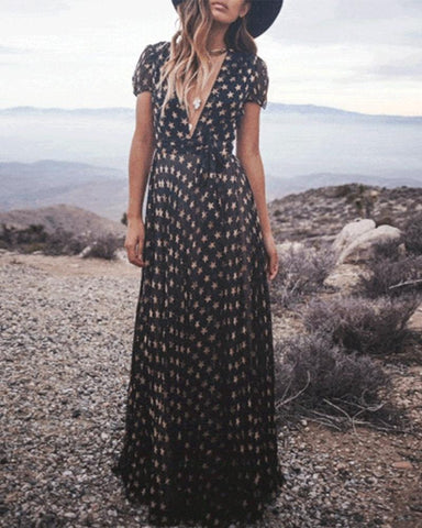 Elegant V Collar Star Printed Chiffon Maxi Dress