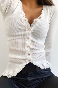 Casual Lace Stretch Rib Blouse