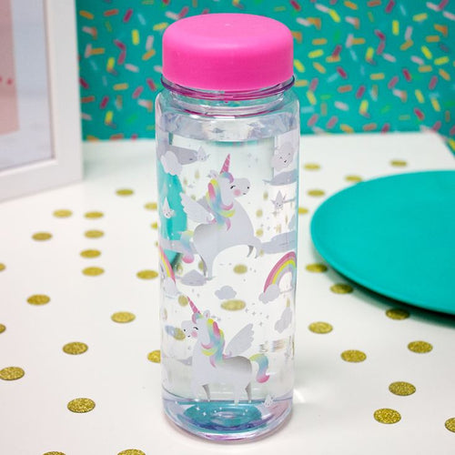 Sass & Belle - Rainbow Unicorn Clear Water Bottle