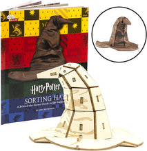 Load image into Gallery viewer, Harry Potter Sorting Hat Book and 3D Wood Model Figure Kit - Build, Paint and Collect!