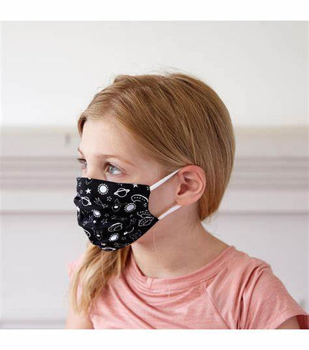 Kid's Black Outer Space Cotton Face Mask (XS)