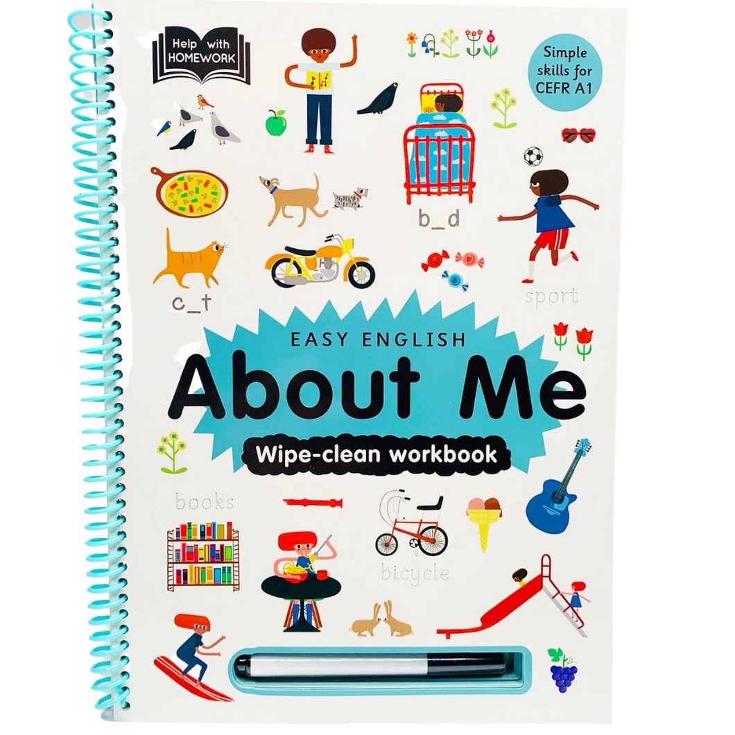 Help With Homework: Easy English About Me (Wipe-clean workbook)