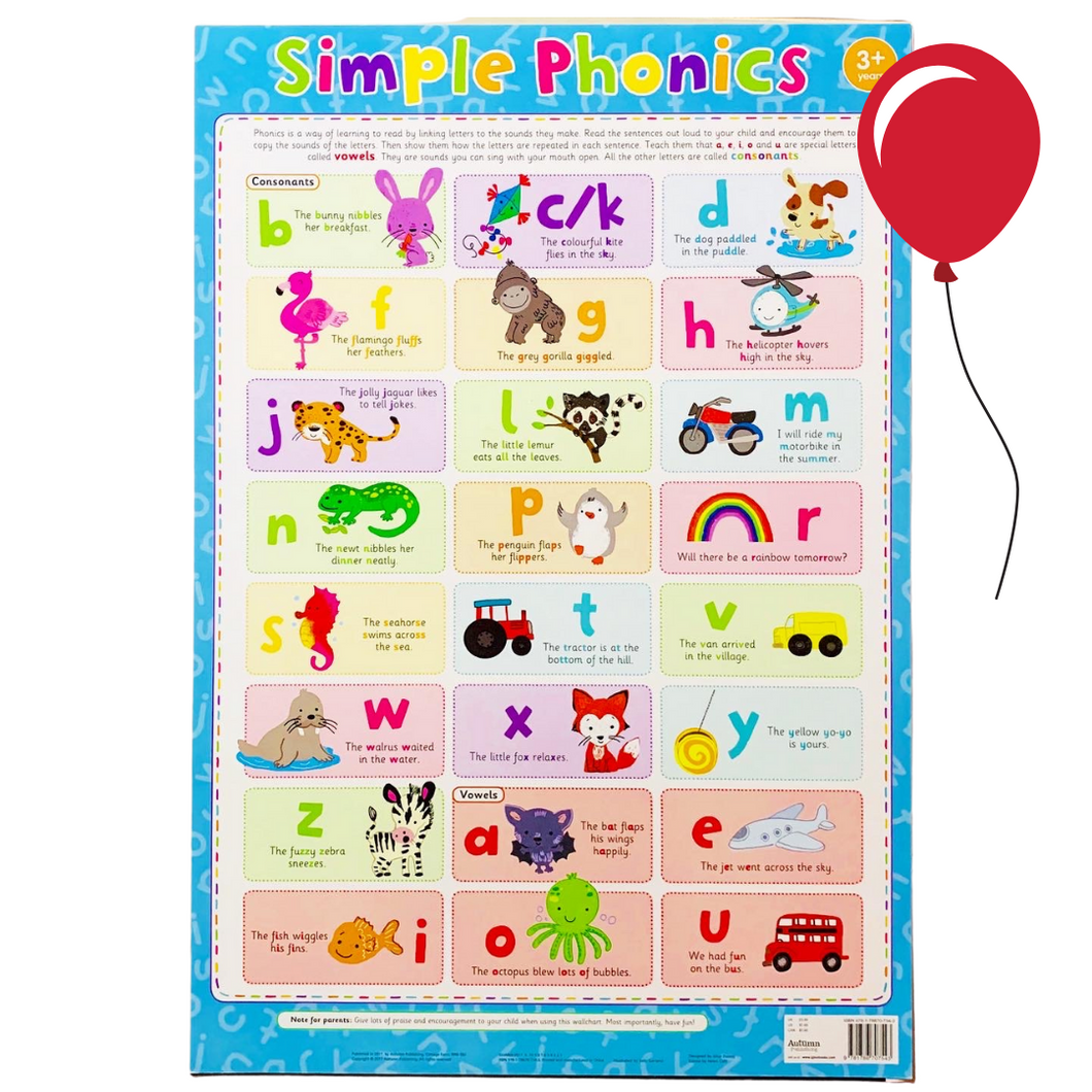 Simple Phonics | English Posters | English Charts for the Classroom | Education Wall Charts