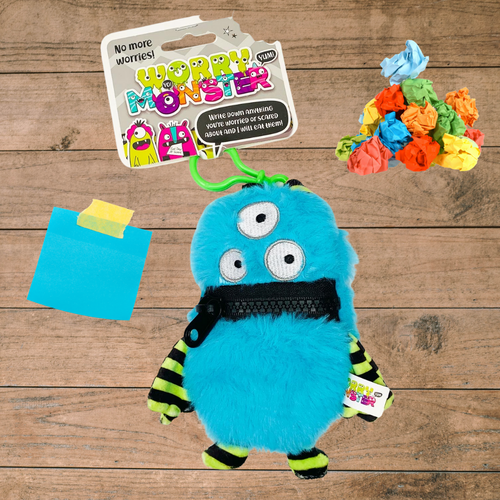 Worry Monster Plush Backpack Clippable: Blue and Green