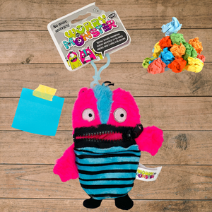 Worry Monster Plush Backpack Clippable: Pink and Blue