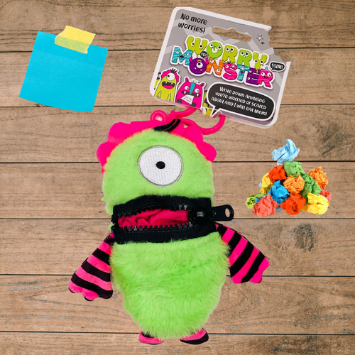 Worry Monster Plush Backpack Clippable: Pink and Green