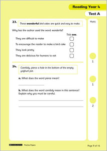 National Curriculum SATs Tests: Reading (Year 4)