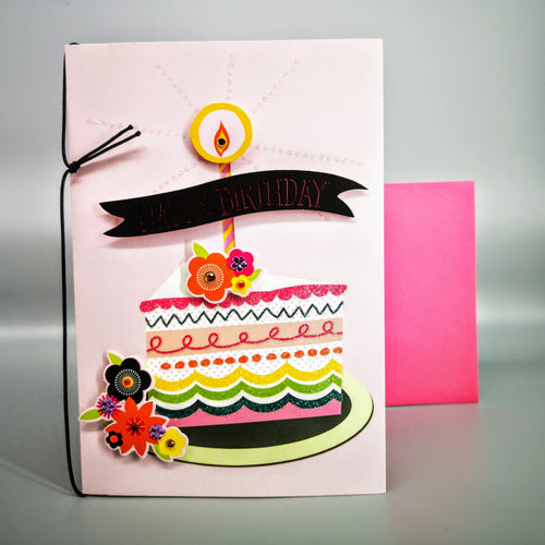 Hallmark: Happy Birthday Pink Cake Deluxe Card