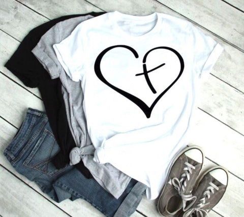 Blessed heart Cross in heart T-shirt Christian Graphic-heart Cross in heart T-shirt-Cat and Dog T-Shirts