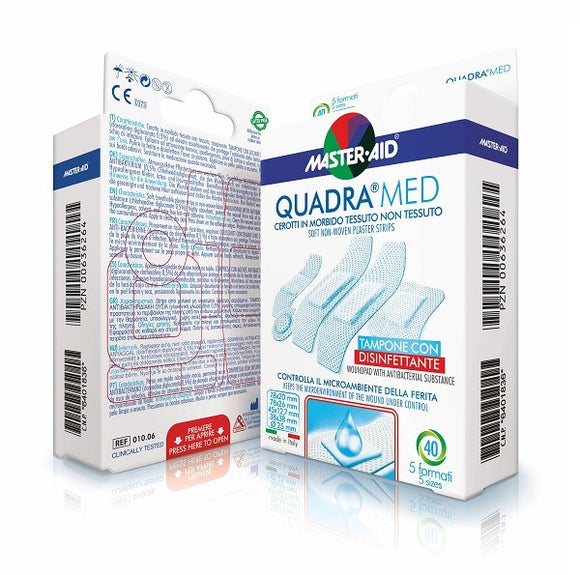 Master Aid Quadra Med breathable antibacterial band aid patches 40 pcs