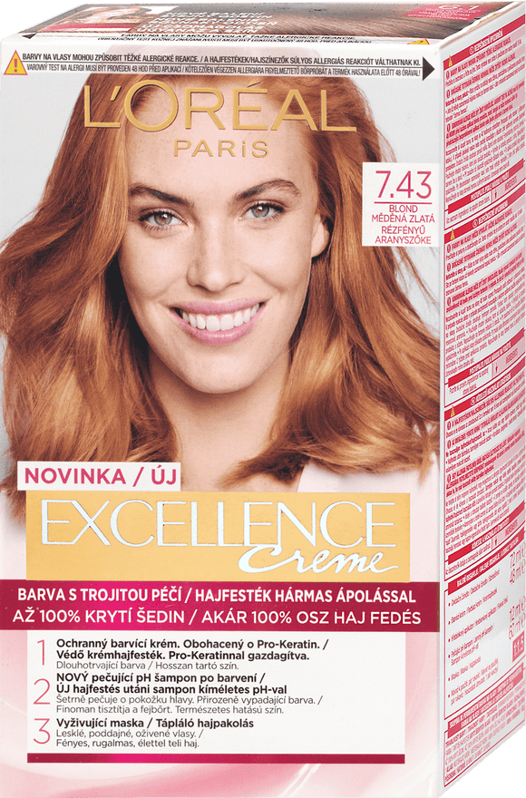 L'Oreal Paris Excellence Creme Hair Color Blonde Copper Gold 7.43, 192 ml