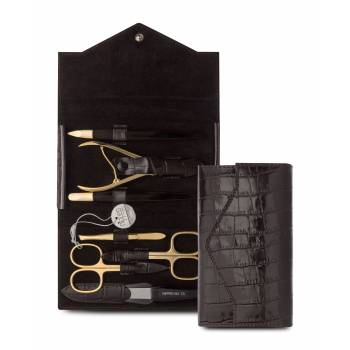 Nippes Solingen Manicure 7 Piece Gold Brown Leather Set