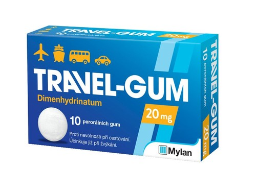 Travel-Gum 20 mg Travel Nausea Relief Chewing Gum 10pcs
